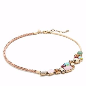 J.CREW CRYSTAL FOLIAGE BRAIDED LEATHER NECKLACE